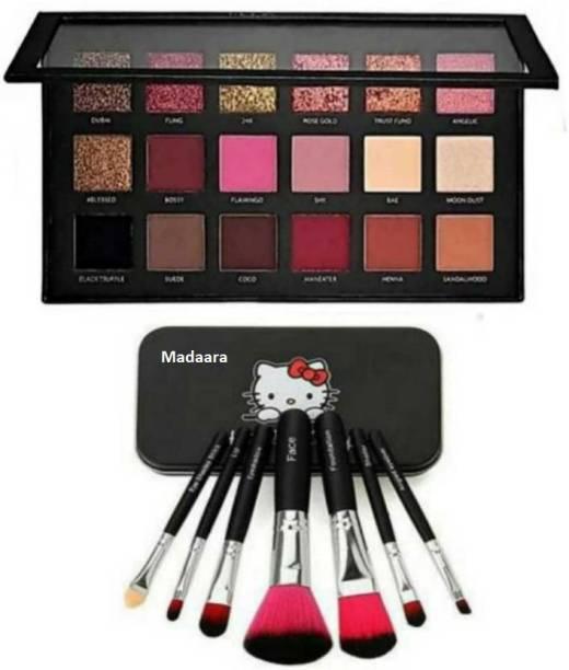 Madaara Professional Rosegold Remastered Eyeshadow Pallete & 7pc Black Makeup Brushes