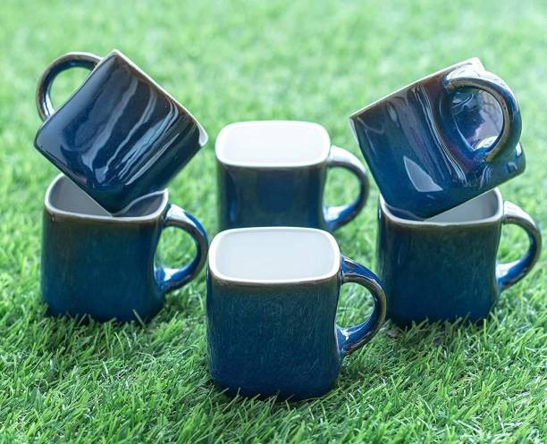 KIKI CREATION Pack of 6 Ceramic Premium Quality Blue Square Somny Microwave Safe Small Tea Cup/Coffee Cup Set