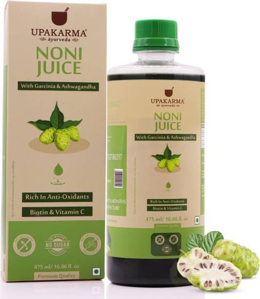 UPAKARMA Ayurveda Premium Herbal Noni Juice Enriched with Garcinia, Ashwagandha and Aloe Vera for Nutrient Absorption I No Added Sugar - 475ml