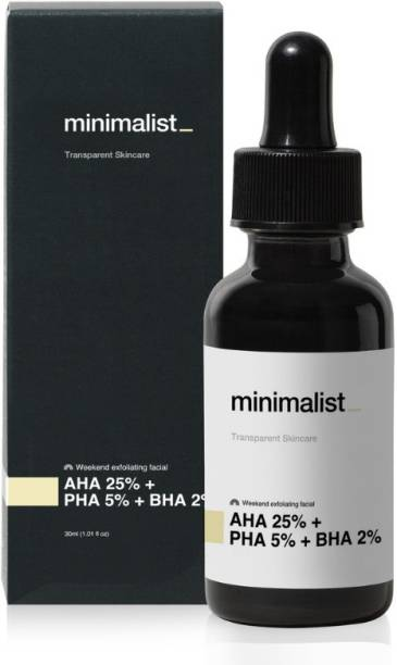 Minimalist AHA 25% + BHA 2% + PHA 5% Peeling Solution for Glowing Skin   AHA BHA Exfoliant With PHA