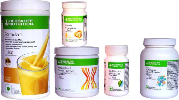 HERBALIFE Extraordinary Weight Loss Combo Pack With ( Formula 1 Nutritional Shake Mix - Mango Flavor + Personalized Protein Powder 200 Gram + Afresh Energy Drink Mix - Lemon Flavor + Cell U Loss 90 Tablets With Corn Silk Extracts For Fat Loss + Multivitamin Mineral & Herbal 90 Tablets For Good Skin ) Combo