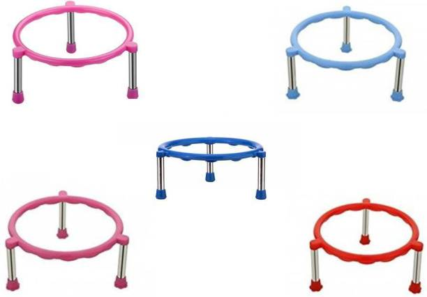 Shaan Pot Stainless Steel Legs Single Ring Matka Stand -5 Pieces Gas Cylinder Trolley