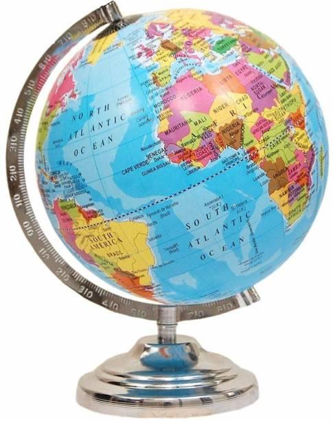 amg digital Large Size Political Globe Educational Laminated 12 Inch Large Globe Heavy Metallic Stand Globe Learning Desk Decoration Globe /Steel Finish Arc and Base / World Globe / Home Decor / Office Decor / Gift Item desk world World Globe