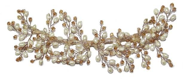krelin 1pc Golden Fashion Hand Made Headdress Pearl Hair Pin Hair Chain Hair Chain