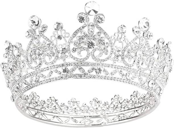 PALAY Crowns for Women Sliver Crystal Queen Crowns and Tiaras Girls Hair Accessories for Prom Bridal Party Christmas Hair Accessory Set