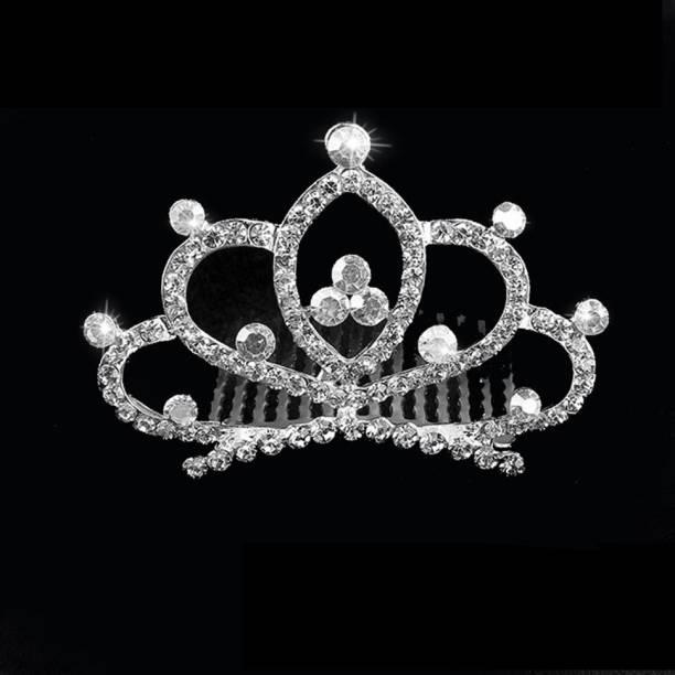 PALAY Princess Crown Comb Mini Heart Tiara Hair Comb Shiny Rhinestone Tiara Flower for Girls Kids Birthday Party Hair Accessories Hair Accessory Set