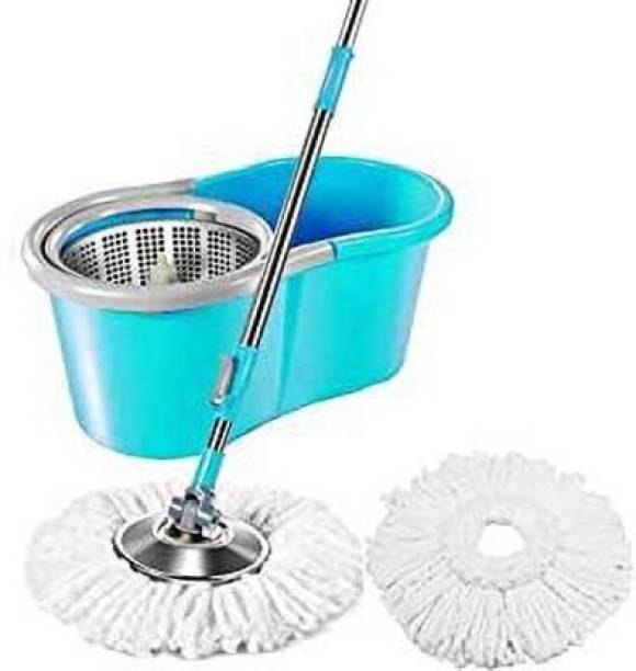 MiniPy Spin Bucket with 2 Refills- Super Absorbent for All Type of Floors, 360 Degree, 180 Degree Bendable Handle, for Perfect Cleaning Mop Set