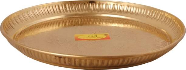 Shivshakti Arts Pure Brass Dinner Plate   Thali Set for Pooja & Serving Purpose - Designer (Engraved Flower Design, 8 Inch) - 1 Piece Half Plate