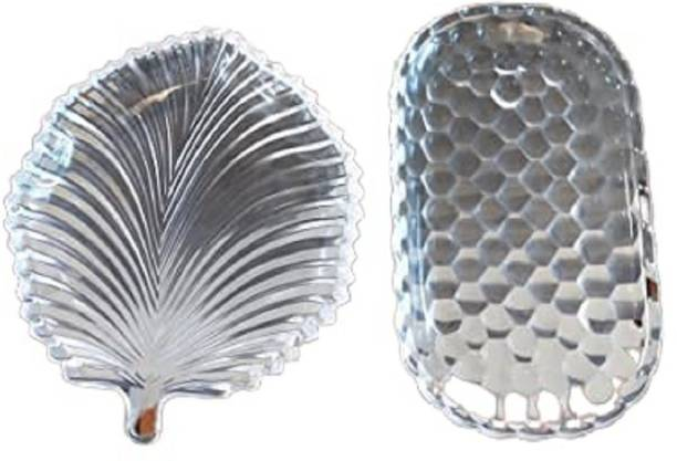Wood Bridge Decorative Combo Shining Glass Plates for Dry Fruits/Snacks/Fruits 2 pcs Quarter Plate
