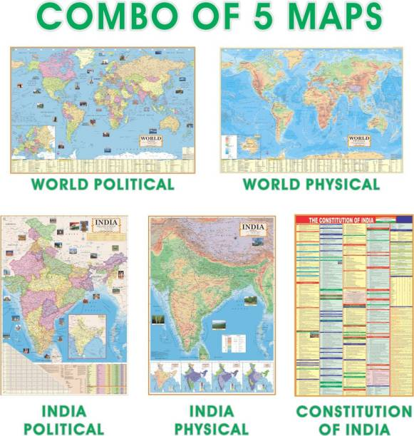 (COMBO OF ENGLISH 5 MAPS) INDIAN Constitution Chart With India & World Map (Both Political & Physical)| Set Of 5| Map Size (48 * 28) (23 * 36)|Paper Mint| Best Useful for UPSC, SSC, IES and other competitive Exams. Paper Print (28 inch X 40 inch) Paper Print