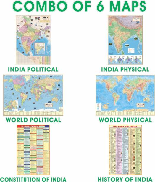 (COMBO OF 6 ENGLISH MAPS/CHARTS) INDIAN Constitution Map & History of India Map With India & World Map (Both Political & Physical)| Set Of 6| Map Size (40 * 28) (23 * 36)|Paper Mint| Best Useful for UPSC, SSC, IES and other Competitive Exams. (All English Maps) Paper Print (40 inch X 28 inch) Paper Print
