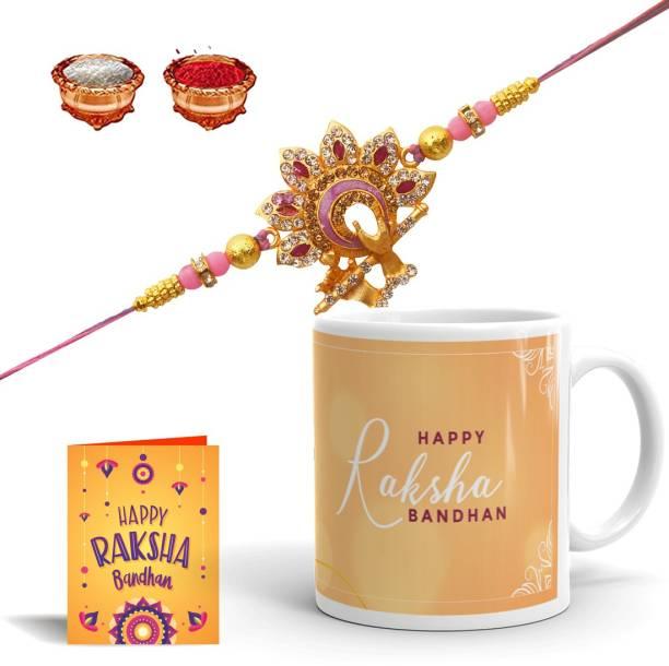 Dreamica Rakhi, Mug, Greeting Card, Chawal Roli Pack  Set