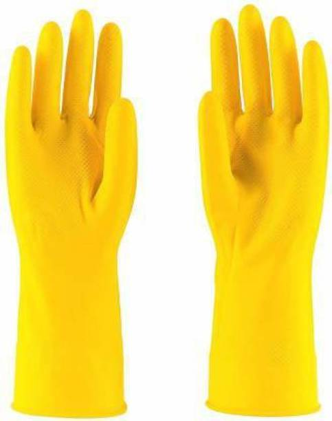 STYLERA 1 Pair YELLOW Rubber Washable Or Reusable Safety Hand Gloves Protective In Chemical Electric Shook Proof Water Heat Cut Restitance Women And Men Safe Hand Gloves Rubber  Safety Gloves
