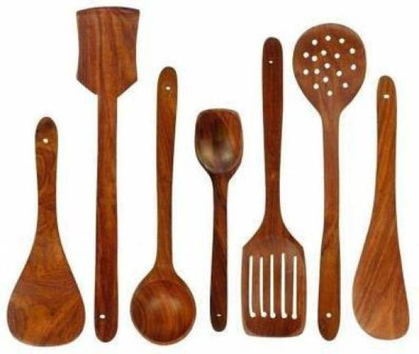 ZAIN ARTS ZA HANICRAFT Wood Handmade Wooden Non-Stick Serving and Cooking Spoon Kitchen Tools Utensil, Set of 7 Wooden Olive Spoon, Serving Spoon, Serving Spoon Set , Spatula Wooden Serving Spoon Set (Pack of 7) Disposable Wooden Serving Spoon Set