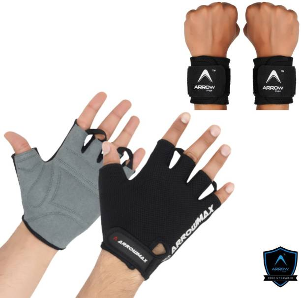 ArrowMax SPORTS FITNESS GLOVES WITH WRIST SUPPORT CYCLING GYM GLOVES Gym & Fitness Gloves