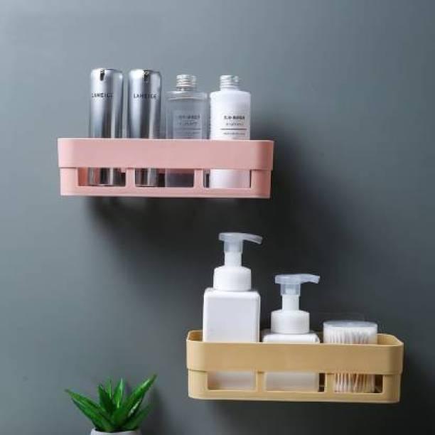DB WORLD Multipurpose Plastic Bathroom Kitchen Office Organize Shelf Rack Plastic Wall Shelf (Number of Shelves - 2) Tool Tray