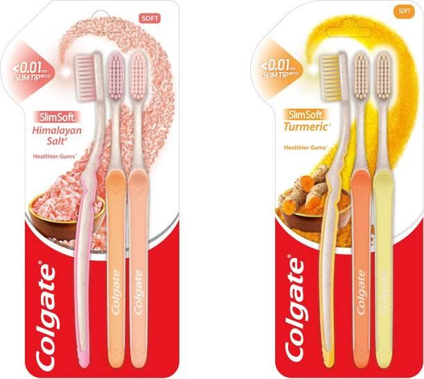 Colgate Slim Soft Turmeric Toothbrush and Slim Soft Himalayan Salt Toothbrush Extra Soft Toothbrush