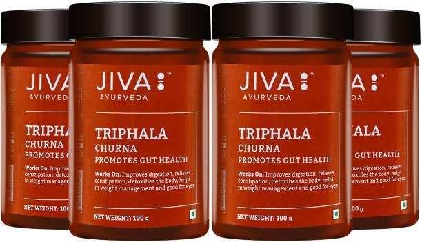 Jiva Triphala Churna - 100 g Each (Pack of 4) | Improves Bowel Movement & Indigestion, Constipation and Digestive Disorders | Effective in Tridoshashamak & Eye disorders