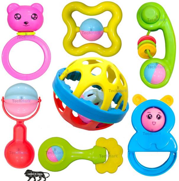 TechHark Colorful Attractive Plastic Non Toxic, Shake & Grab Rattle and Soothing Teether for New Born and Infants Rattle