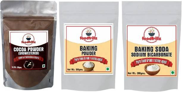 foodfrillz Cocoa Powder, Baking Powder & Baking Soda, 600 g Pouch, Pack of 3 (200 g each) Cocoa Powder
