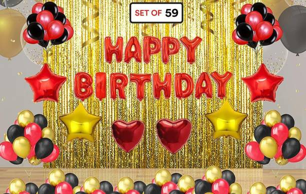 PartyballoonsHK Printed Red Birthday decoration combo kit, birthday balloon combo Balloon