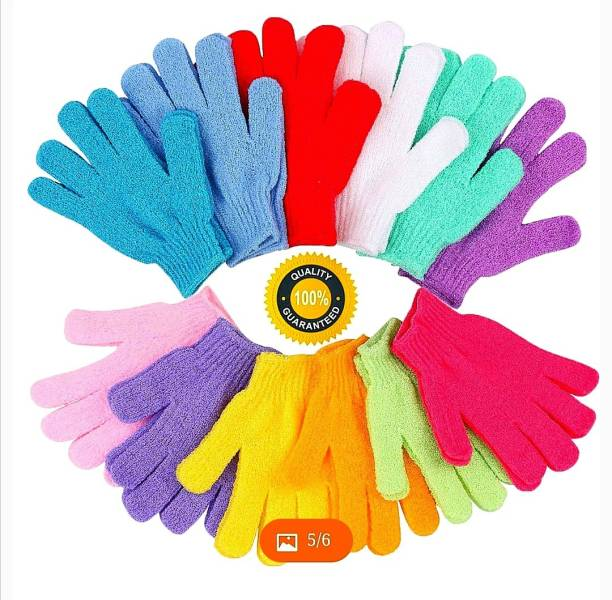 Three Elements Exfoliating Dual Texture Bath Gloves for Shower Dead Skin Cell Remover,Scrubbing Glove Bath Mitts Scrubs for Shower Gloves loofah gloves 12 PAIRS