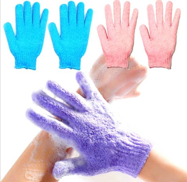 Three Elements Exfoliating Dual Texture Bath Gloves for Shower Dead Skin Cell Remover,Scrubbing Glove Bath Mitts Scrubs for Shower Gloves loofah gloves