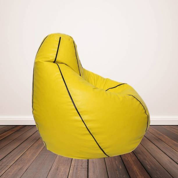Gunj XXL Artificial Leather Bean Bag Filled With 2.Kg Beans (Yellow with Black Piping) Teardrop Bean Bag  With Bean Filling