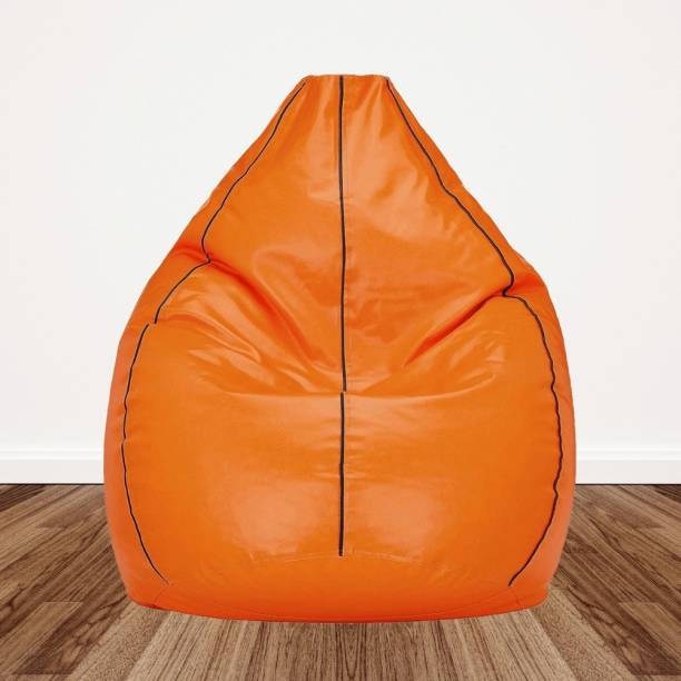 Gunj XXL Artificial Leather Bean Bag Filled With 2.Kg Beans (Orange with Brown Piping) Teardrop Bean Bag  With Bean Filling
