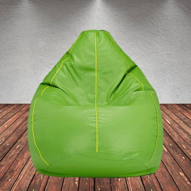 Gunj XXL Artificial Leather Bean Bag Filled With 2.Kg Beans (Green with Yellow Piping) Teardrop Bean Bag  With Bean Filling