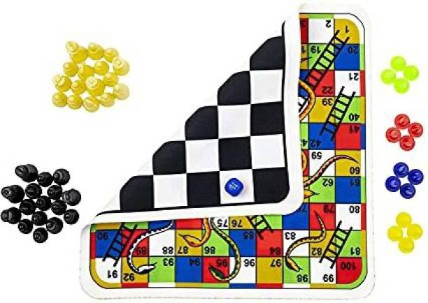 Smartcraft Travel Board Game | Chess- Snake Ladders| Premium Clothes Finish Reversible Game Set (Free Dice & Coins) Party & Fun Games Board Game