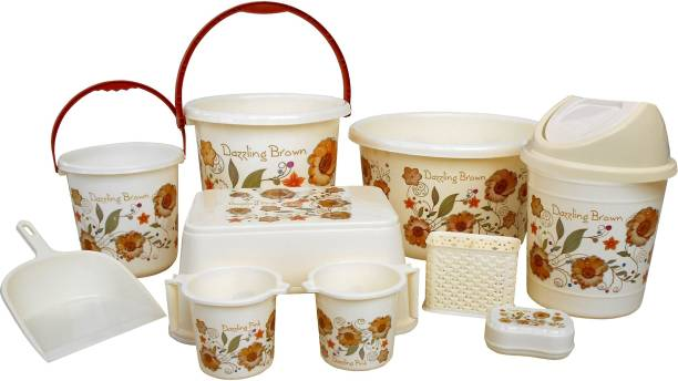 WCSE High quality unbreakable Flower printed Balti 15.0 Ltr, Plastic Tub 20.0 Ltr, Small Balti 5.0 Ltr, Round Waste Container 7.0 Ltr with Lid, 2 pcs of Mug 1.0 Ltr, Soap Dish, Comfort Stool, Cutlery Stand and dustpan 20 L Plastic Bucket