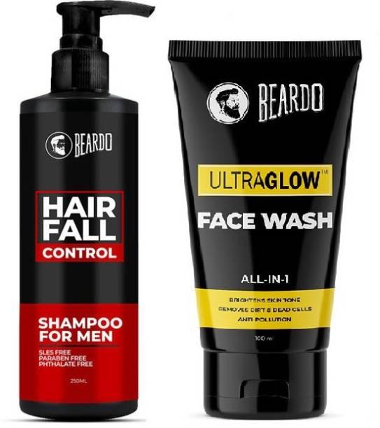 BEARDO Hair Fall Control Shampoo and Ultraglow Facewash Combo | Made in India