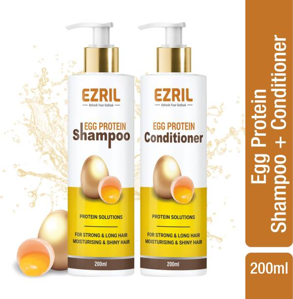 EZRIL Egg Protein Solution For Strong And Long Hair Care Combo (Shampoo + Hair Conditioner)