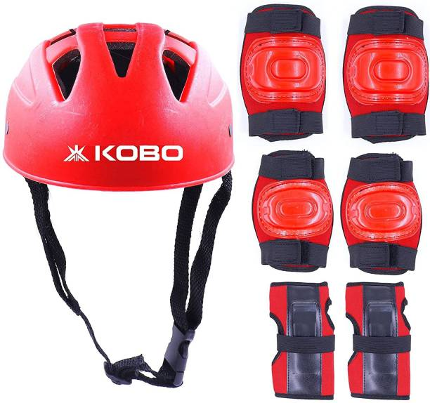 KOBO Skating Set Cycling Protective Set with Helmet and Guard for Knee, Elbow and Palm Skating Guard Combo
