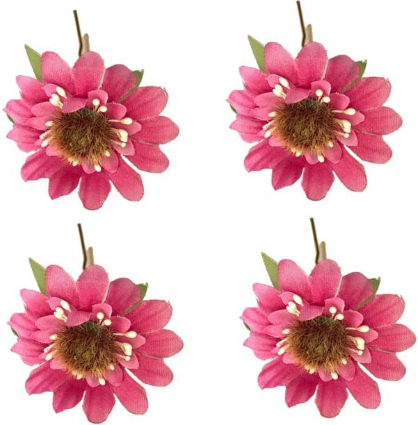 GadinFashion Artificial Flower Juda Hair Pins for Girls Hair Styling Pack-04,Color-Rani Pink Bun Clip
