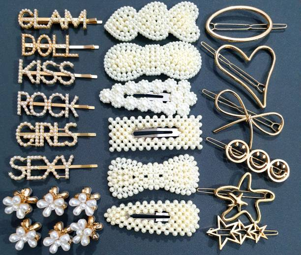 HOMEMATES pearl Mini Hair Clip Minimalist Bling Rhinestone Letter Bobby Pins, Word Barrettes Crystal Hair Pins, Metal Hair Clips, Golden Sparkly Stylish fancy Jewellery Hair Accessories for Women Girls Hair Pin