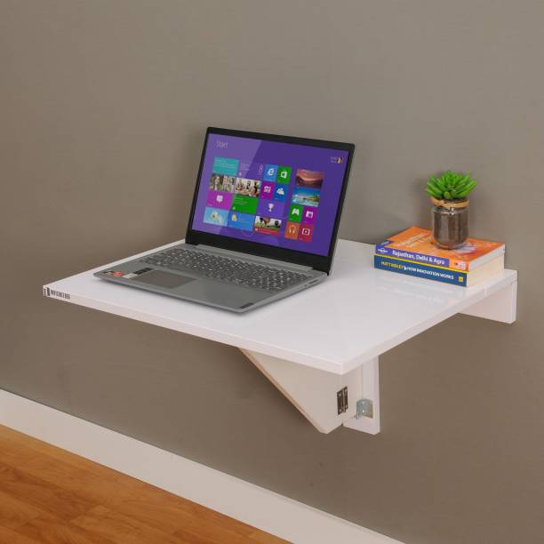 Invisible Bed Foldable Table with Ledge Study Table/Home Office/Laptop Table/Workstation/Wall Mounted Space Saving Desk, Made in India. Engineered Wood Study Table