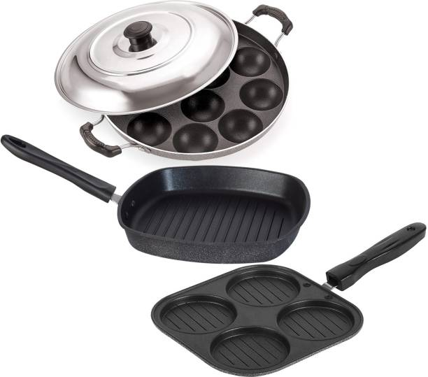 Flipkart SmartBuy Breakfast-Combo Appam Maker and Grill Pan Set Paniarakkal Set with Lid 0.75 L, 0.5 L, 0.5 L capacity 22.5 cm, 24 cm, 19.5 cm diameter