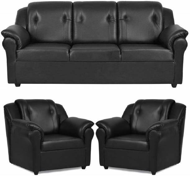 gnanitha Leatherette 3 + 1 + 1 BLACK Sofa Set