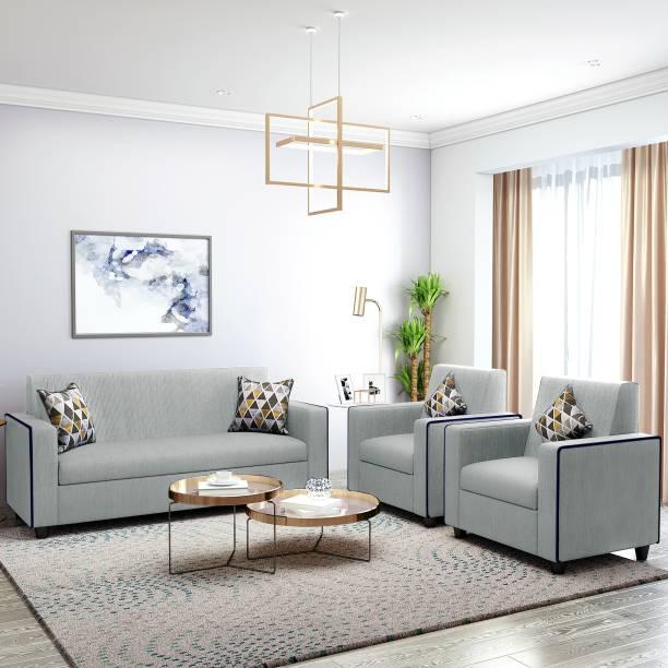 Bharat Lifestyle Desy Fabric 3 + 1 + 1 Light Grey Sofa Set