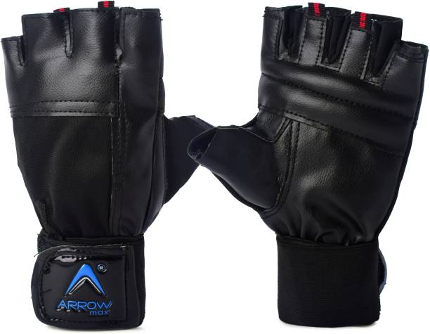 ArrowMax COMMANDO LEATHER CYCLING AND GYM GLOVES WITH WRIST SUPPORT Gym & Fitness Gloves Gym & Fitness Gloves