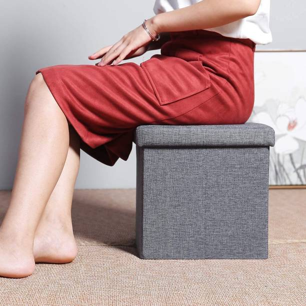 DIVINE HUB DIVINE HUB Cube Shape Sitting Stool with Storage Box Living Foldable Storage Bins Multipurpose Clothes, Books and Toys Organizer with Cushion Seat Lid Stool