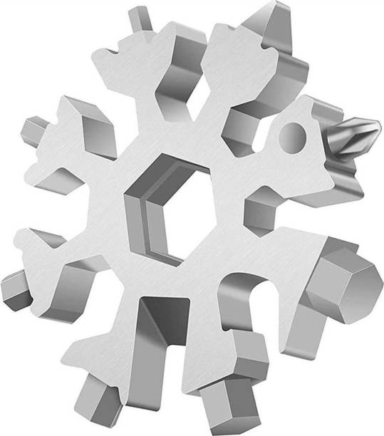 MS MODSTYLE 18-in-1 Steel Snowflake Multi-Tool Keychain , Screwdriver , Bottle Opener Tool Camping & Hiking keychain toolkit