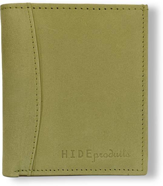 HIDE PRODUITS Men & Women Casual Green Genuine Leather Wallet