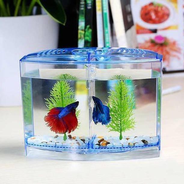 AKSHAT ENTERPRISES Mini Betta Fish Double House Tank Rectangle Aquarium Tank