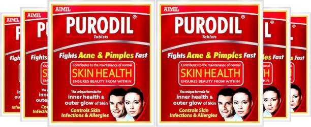 AIMIL Purodil Blood Purifying Formula for Healthy Skin | Clear Complexion Ayurvedic Tablets (Pack of 6)