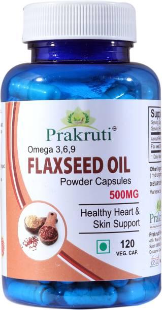 Prakruti Pure Herbs Prakruti Flaxseed Oil Powder Capsules 500Mg, Omega 3,6,9 120 Veg. Capsule