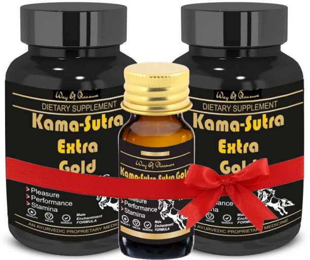 Way Of Pleasure Kama Sutra Extra Gold 120 Capsule With Kama Sutra Extra Gold Oil 15ml Set