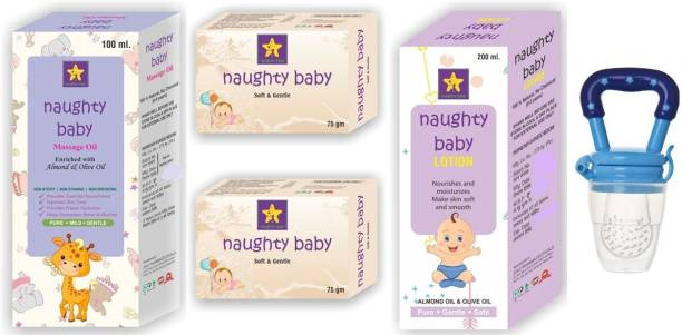 NAUGHTYBABY Combo pack of Massage oil, soap, moisturizing soap and fruit nibbler